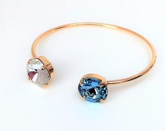 Aquamarine Swarovski Crystal Open Bangle Blue Crystal Bracelet Designer Jewelry Pretty Gift For Her Blue Chaton Cuff Gold Plated Cuff