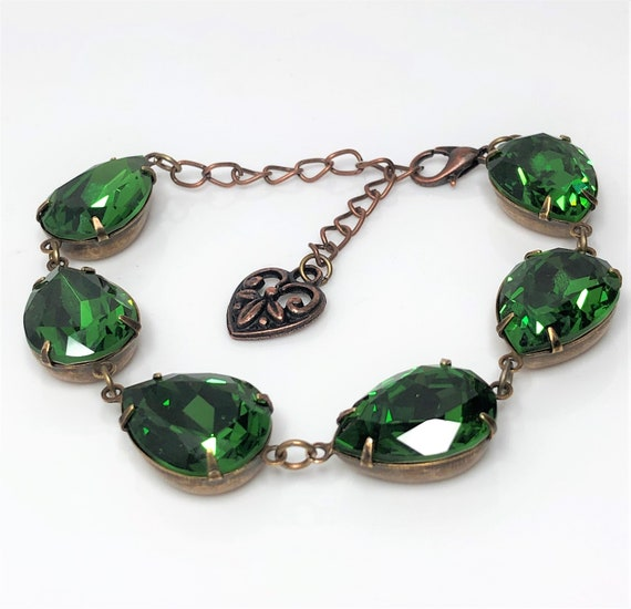 Emerald Green Crystal Necklace Antique Brass Georgian Paste Women Gift Boxed
