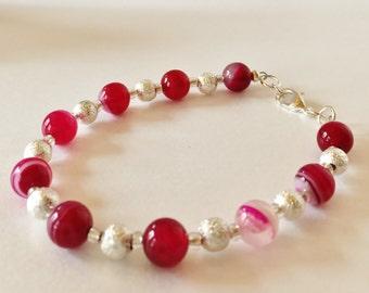 Pink Agate Bracelet Fuchsia Bracelet Hot Pink Bracelet Beaded Bracelet Pink Jewelry Gift for Her Beaded Jewelry Pink Striped Agate Handmade