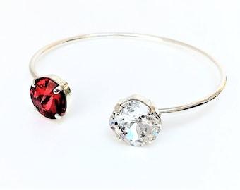 Swarovski Crystal Open Bangle Red Siam Crystal Bracelet Dainty Designer Jewelry Birthday Gift For Her 12mm Cushion Cut Dark Red Wedding Cuff