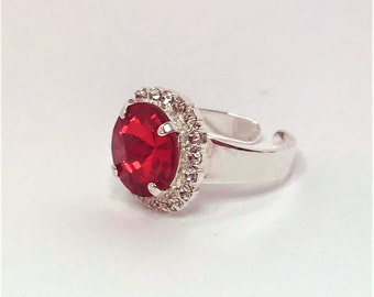 Light Siam Crystal CZ Ring, Crystal Jewellery, Round Stone Ring, Large Crystal Ring, Adjustable Ring, Red Statement Ring, Rings for Women