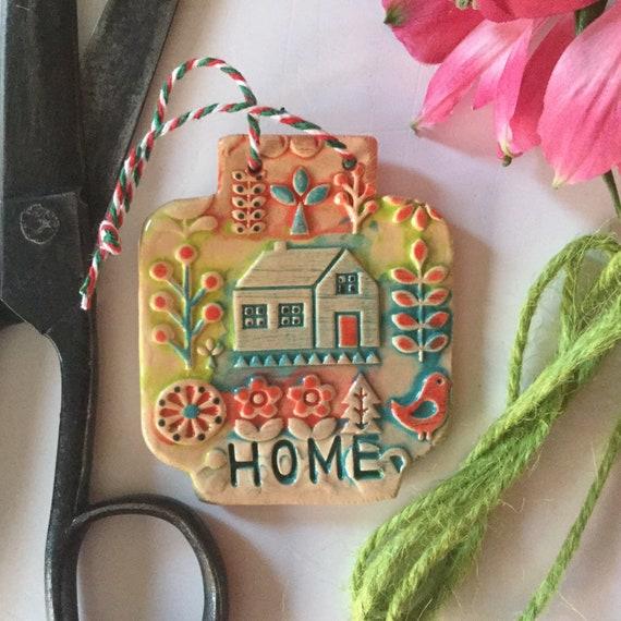 Handmade Ceramic Wall Hanging, small, jar-shaped, folk art, scandi theme, spring, home, house-warming gift, house and garden