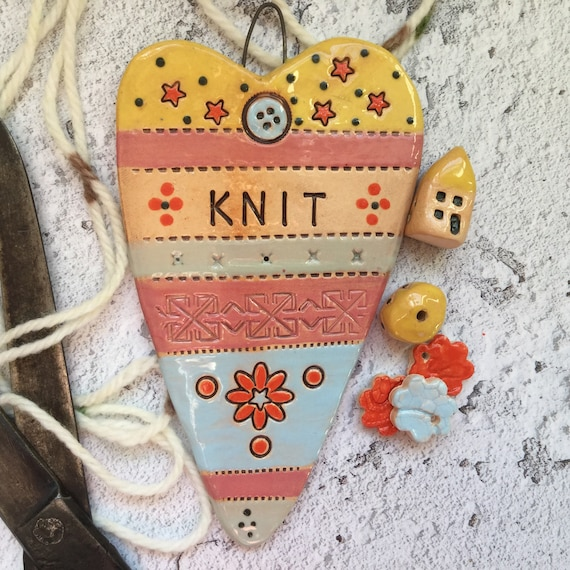 Ceramic heart, 14 x 8cm (5.5 x 3ins), handmade hanging decor, pattern, colour, folk art, create, stitch, knit, quilt, crochet