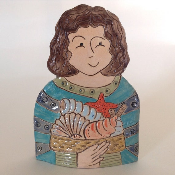 IN STOCK: Lady with Shells. Handmade ceramic bust, mini-bust, Colourful People, collectible, one of a kind