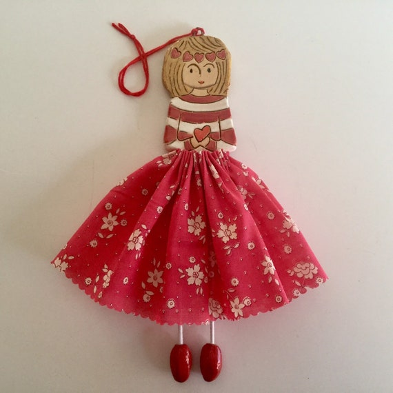 IN STOCK Little Dancer (Red Floral), Art doll, handmade, mixedmedia, ceramic and fabric, vintage, unique, colourful