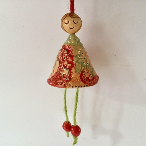 Folk art fairy, doll, hanging ornament, angel, tree decoration, lace design,