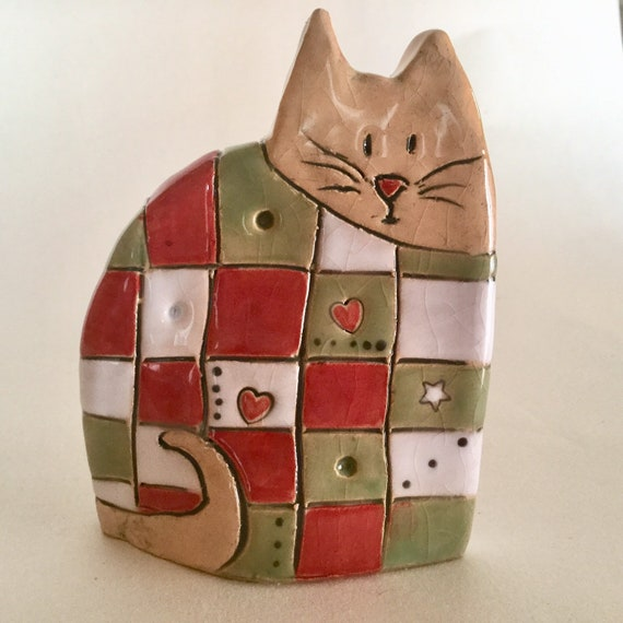 Handmade Patchwork Cat, pattern, colour, folk art, unique, sculpture, animals