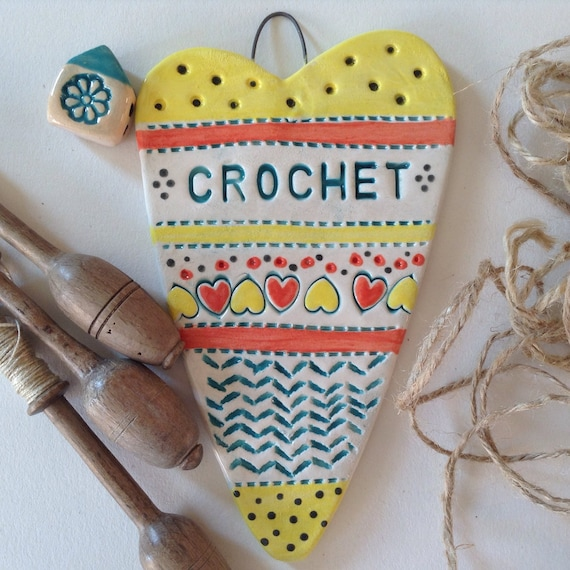 Handmade Ceramic Hanging heart, pattern, colour, folk art, create, stitch, knit, quilt, crochet