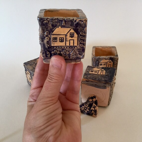 Small ceramic box, folkart, scandi, house design, cobalt blue and cream