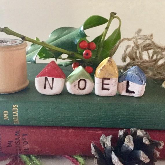 Set of 4 tiny Christmas ceramic houses. Handmade, handglazed, christmas decoration, home, tiny ornament