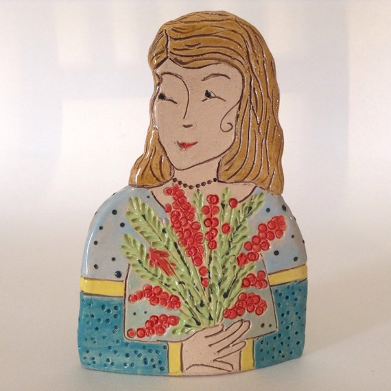 IN STOCK. Lady with Bird.  Handmade ceramic bust, mini-bust, Colourful People, collectible, one of a kind