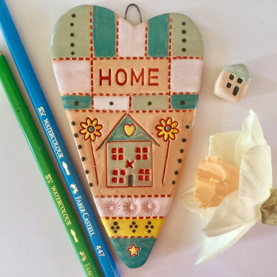 Handmade Ceramic Hanging Heart, House and Home theme, pattern, colour, folk art