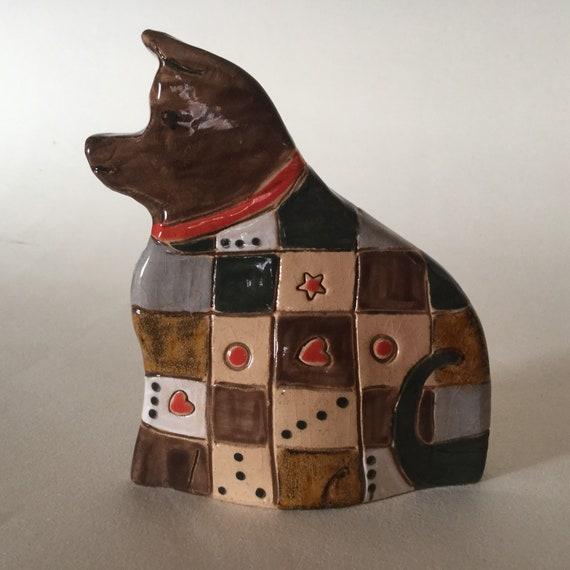 Handmade Patchwork Dog, pattern, colour, folk art, unique, sculpture, animals