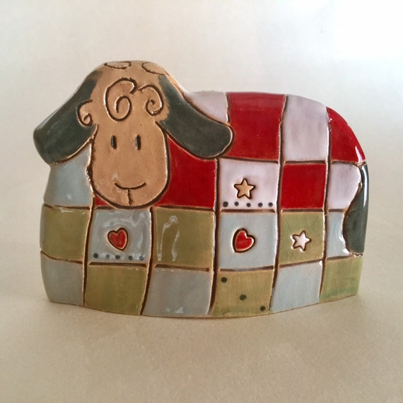 Handmade Patchwork Sheep, pattern, colour, folk art, unique, sculpture, animals