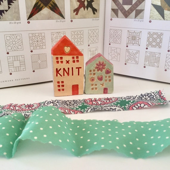 PAIR of houses. Handmade, Ceramic houses, ornament, decoration, little house, housewarming, Knitting