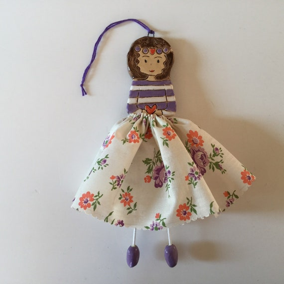 IN STOCK Little Dancer (Lavender floral), Art doll, handmade, mixedmedia, ceramic and fabric, vintage, unique, colourful