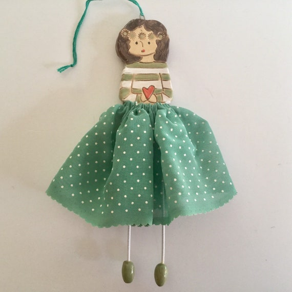 IN STOCK Little Dancer (Green polkadot), Art doll, handmade, mixedmedia, ceramic and fabric, vintage, unique, colourful