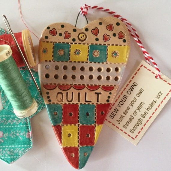 SEW YOUR OWN! Mixed media, Handmade Ceramic Hanging Heart, knit, quilt, stitch, sew, heart, pattern, colour