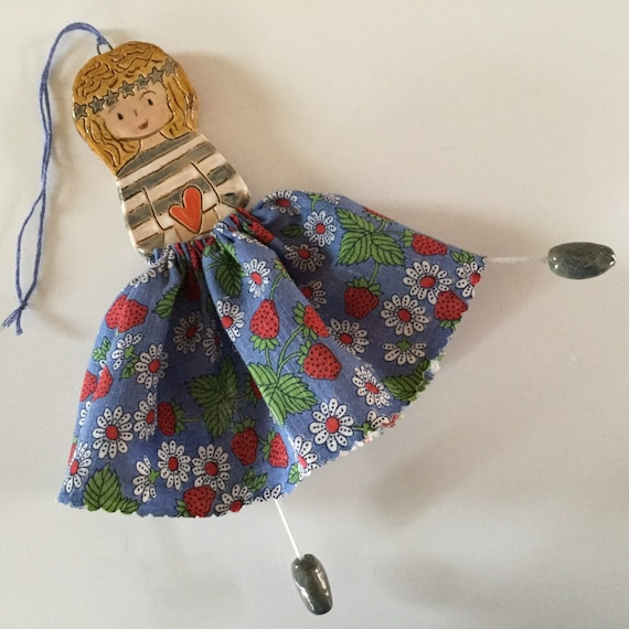 IN STOCK:  Little Dancer (Strawberries). Art doll, handmade, mixedmedia, ceramic and fabric, vintage, unique, colourful