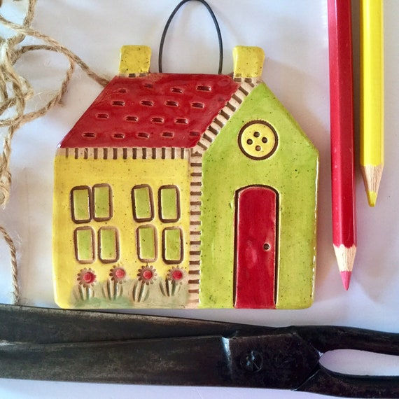 OLD SCHOOLHOUSE, Handmade, Ceramic Hanging house, ornament, decoration, little house, hanging house, housewarming, quiltblock