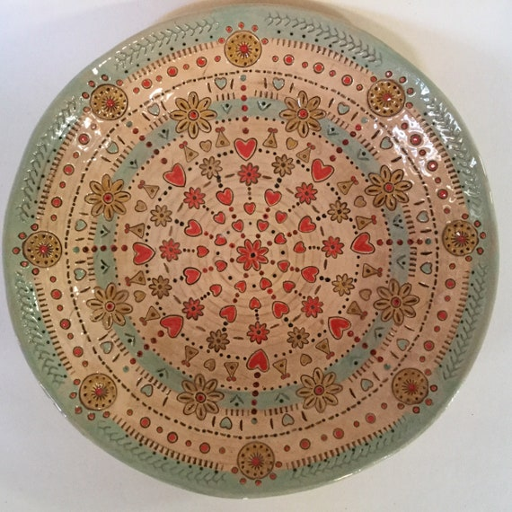 Handmade ceramic plate, mandala pattern, stitchy, centrepiece, hearts, flowers, intricate detail