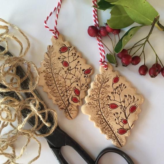 Handmade Ceramic Hanging decoration SET OF TWO, autumn theme, hedgerow, rosehips, berries, diamond shape
