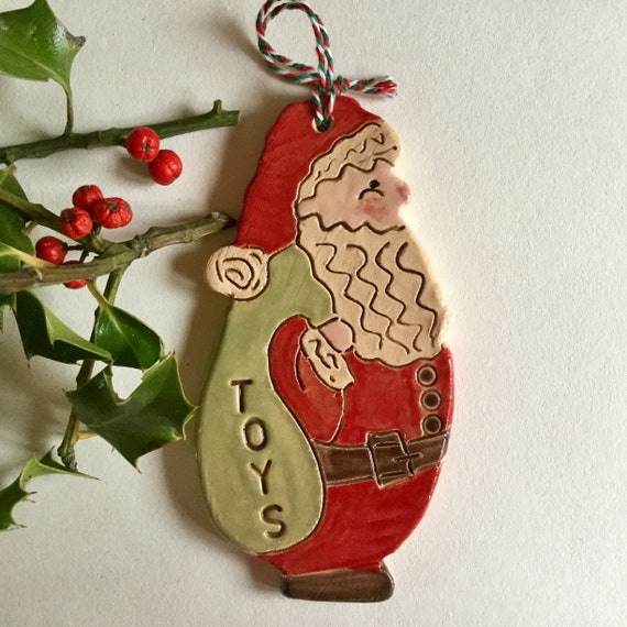 Handmade ceramic Santa, hanging decoration, christmas decoration, ornament, fat santa, handglazed, detailed, Father Christmas