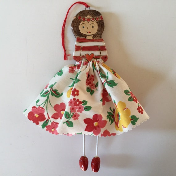 IN STOCK Little Dancer (Red/yellow Floral), Art doll, handmade, mixedmedia, ceramic and fabric, vintage, unique, colourful