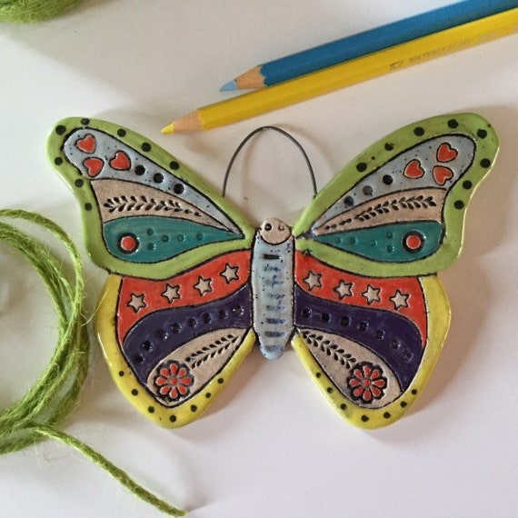 REDUCED, IMPERFECT, Handmade Ceramic Hanging Butterfly