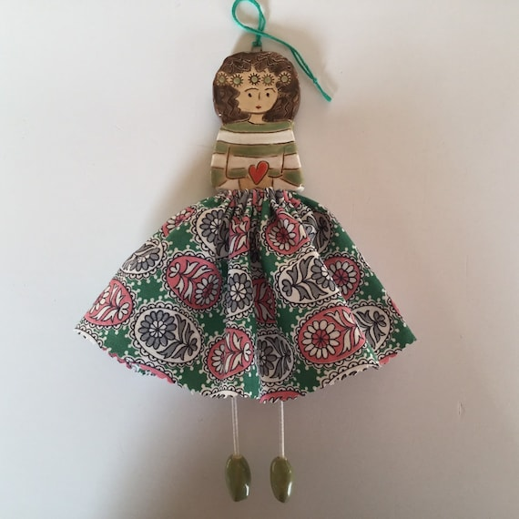 IN STOCK Little Dancer (Green Floral) Art doll, handmade, mixedmedia, ceramic and fabric, vintage, unique, colourful
