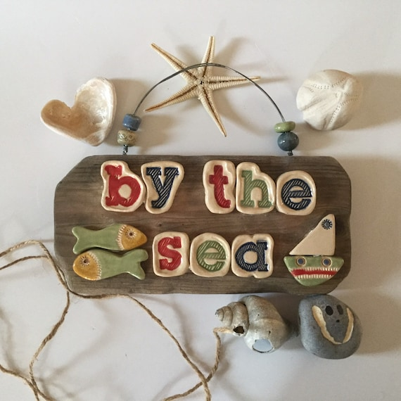 Driftwood & Ceramic sign. Coastal decor. By the Sea. Beach life. Decorative sign. Indoor sign