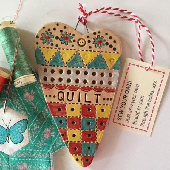 SEW YOUR OWN! Mixed media, Handmade Ceramic Hanging Heart, knit, stitch, sew, heart, pattern, colour