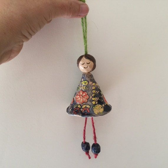 Folk art fairy, doll, hanging ornament, angel, tree decoration, scandi design,