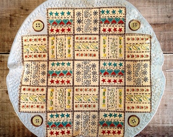 Handmade Ceramic Patterned Bowl, patchwork, colour and pattern, detailed design, wow factor, table centrepiece