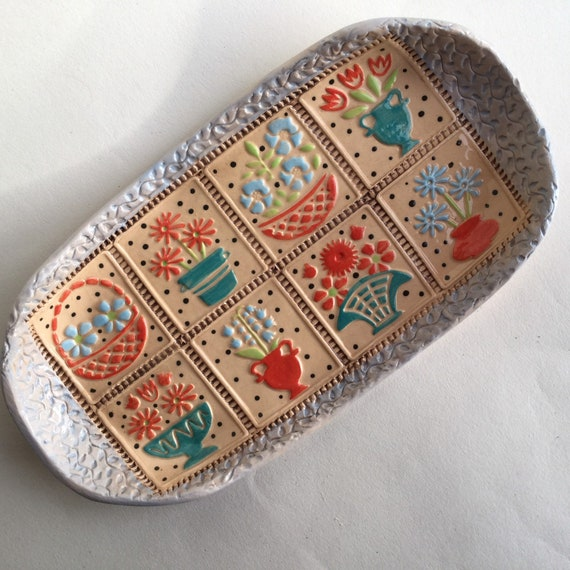 Handmade ceramic platter, grid pattern, decorative, home decor, appliqué, patchwork style