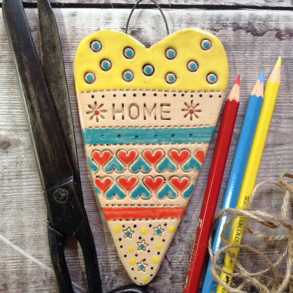 Handmade Ceramic Hanging heart, pattern, colour, folk art, home, create, craft, stitch, knit, quilt, crochet