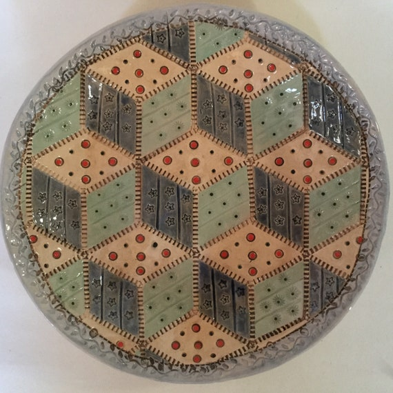Handmade Ceramic Patchwork Patterned Bowl, quilting, Tumbling Blocks, stitching, quilt block