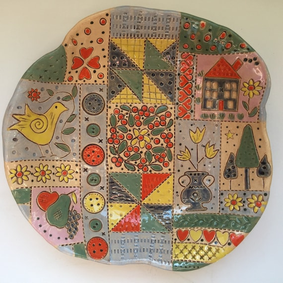 Ceramic Patchwork Patterned Bowl, 9ins (23cm) across, handmade, quilting, stitching, textiles, stitchy detail