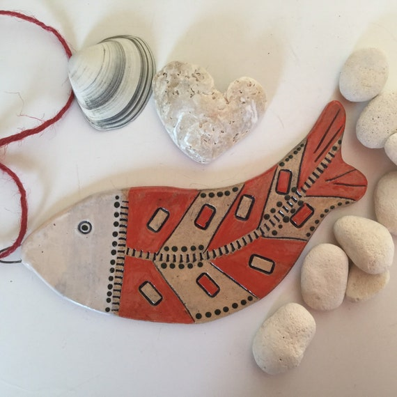 CERAMIC FISH, Handmade, Ceramic Hanging fish, ornament, decoration, coastal, beachhouse, beachhut, seaside