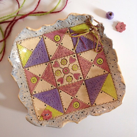 Handmade ceramic dish, quiltblock pattern, star pattern, trinket dish, pin dish, sewing gift, mixed media