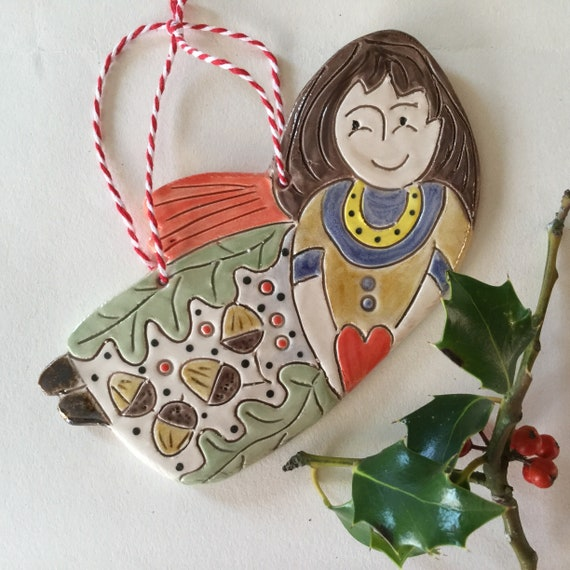 Handmade Ceramic Hanging angel, pattern, colour, folk art, unique, one off, original