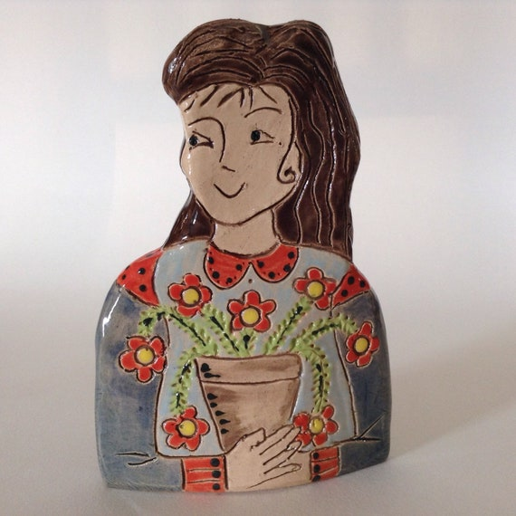 IN STOCK. Lady with Plant. Handmade ceramic bust, mini-bust, Colourful People, collectible, one of a kind