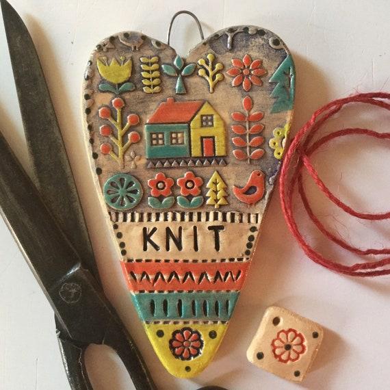 Handmade Ceramic Hanging Heart, patchwork theme, quilty heart, pattern, colour, folk art