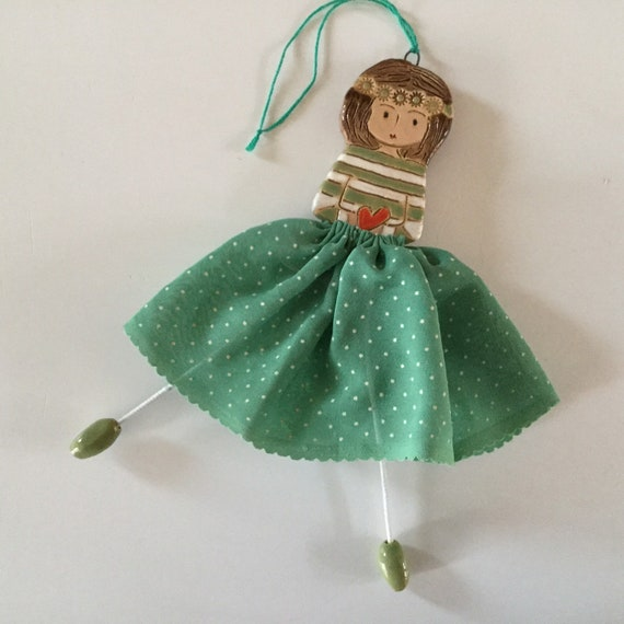 TO ORDER:  Little Dancer (Green polka dot). Art doll, handmade, mixedmedia, ceramic and fabric, vintage, unique, colourful