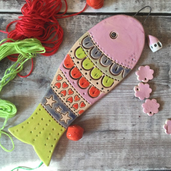 CERAMIC FISH, 16.5x5.5cm (6.5x2.5ins) Handmade, Ceramic Hanging fish, ornament, decoration, coastal, beachhouse, beachhut, seaside