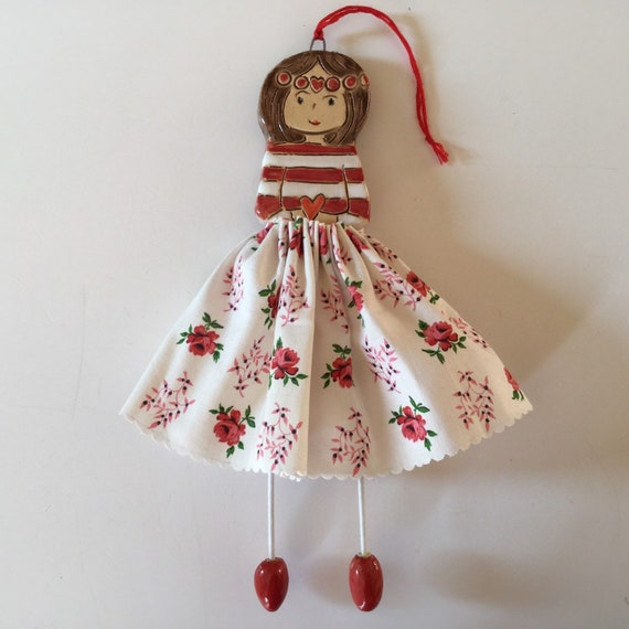 IN STOCK Little Dancer (Rosebuds), Art doll, handmade, mixedmedia, ceramic and fabric, vintage, unique, colourful