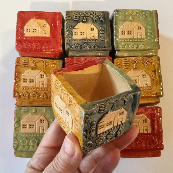 Small ceramic box, folkart, scandi, house design, multi-coloured