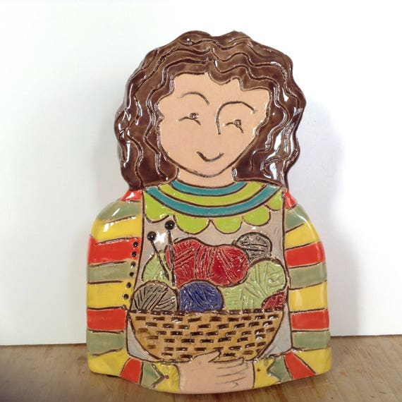ON PRE-ORDER Lady with Yarn/Wool.  Handmade ceramic bust, mini-bust, Colourful People, collectible, one of a kind