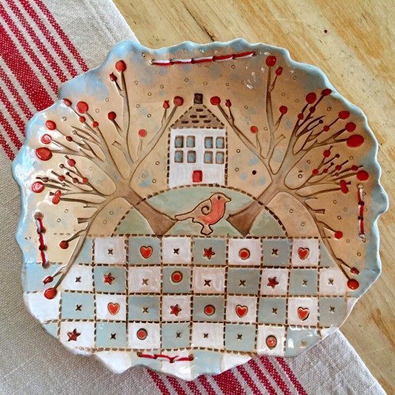 Handmade Ceramic Patchwork Patterned Bowl, quilting, applique, stitching, textiles, mixed media