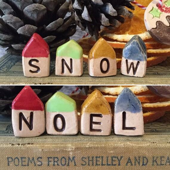 Set of 4 tiny Christmas ceramic houses. Reversible. Snow/Noel. Handmade, handglazed, christmas decoration, home, tiny ornament